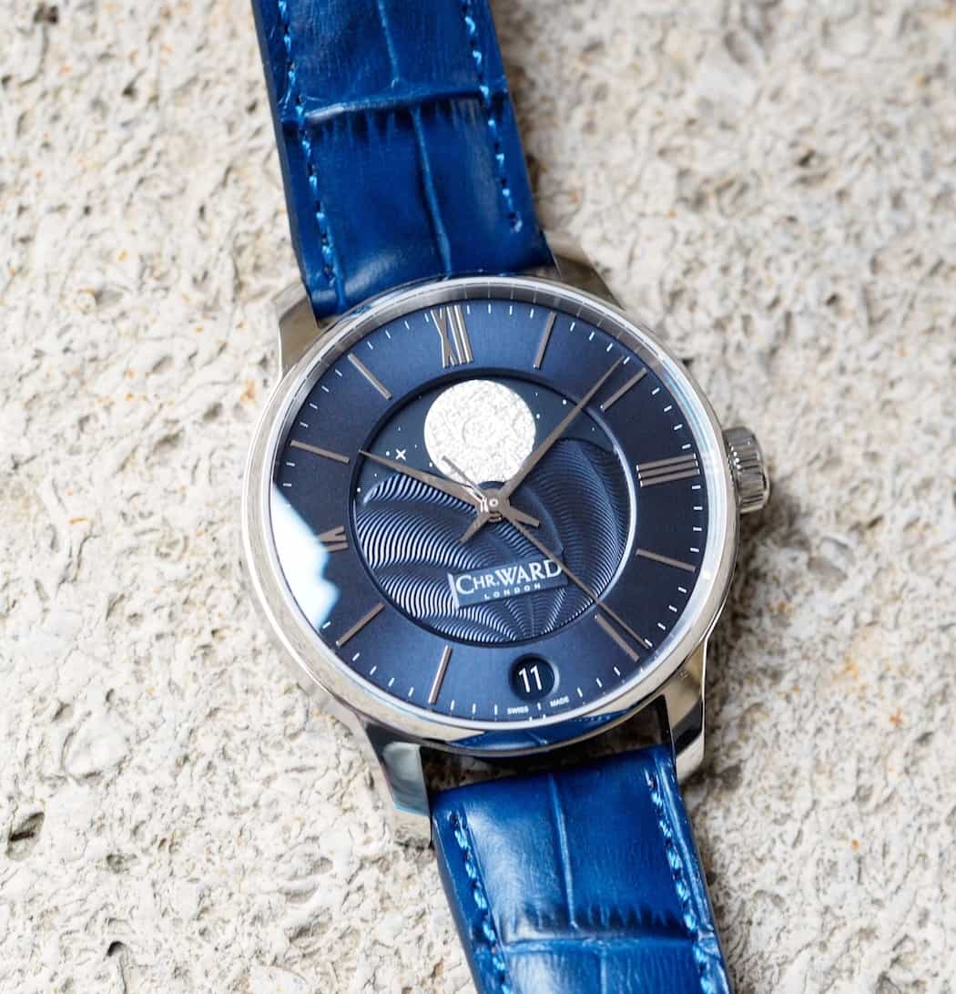 The Christopher Ward C9 Moonphase features a thick, high quality Louisiana alligator strap