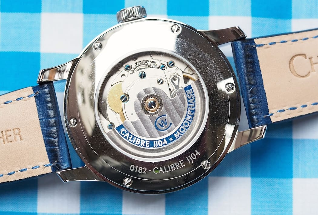 "The ""JJ04"" movement as seen inside the Christopher Ward C9 Moonphase"