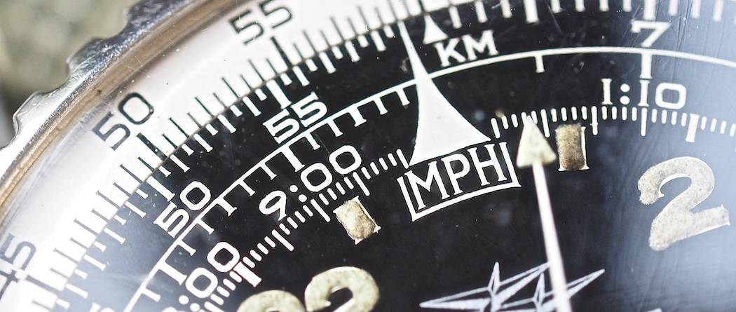 "Look at the serifs on ""MPH"" on the Breitling 809 Cosmonaute dial!"