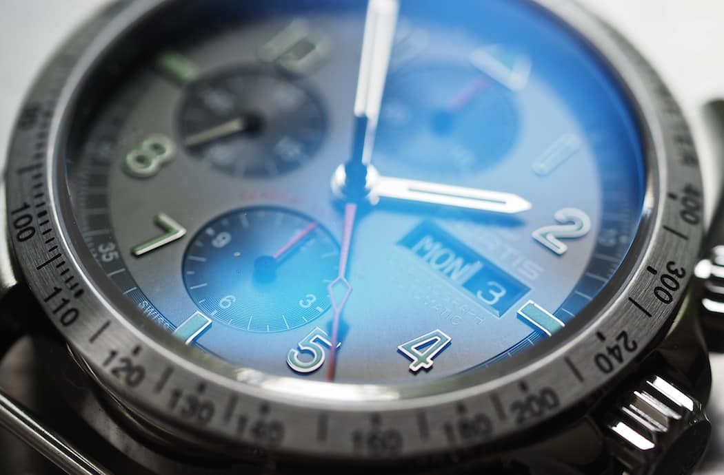 A look at the step dial and the punched hour indices on the Fortis Classic Cosmonauts