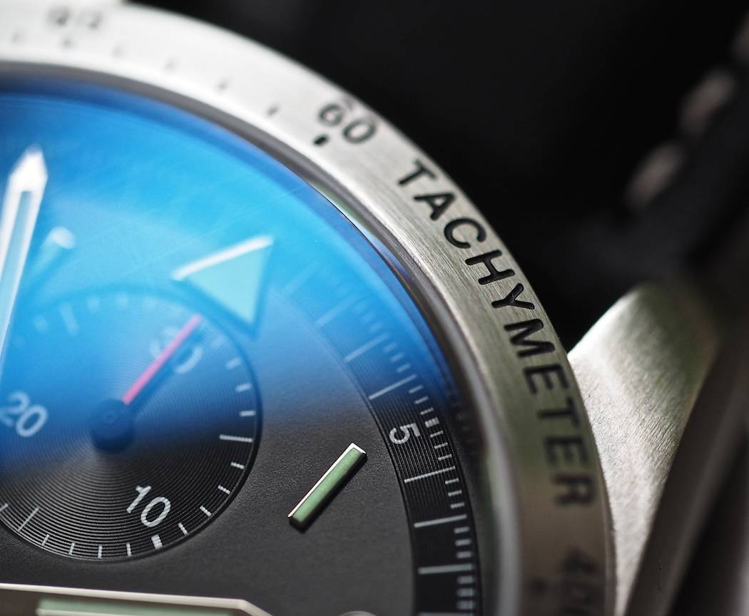 A closer look at the inscribed and matte-finished stainless bezel on the Fortis Classic Cosmonauts