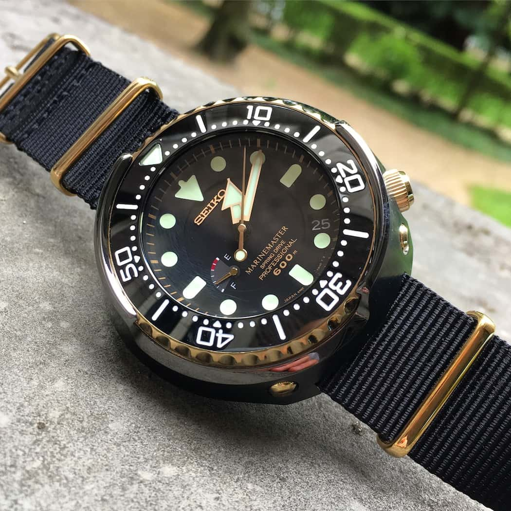 A view of the Seiko Spring Drive Tuna with its crown screwed into the case