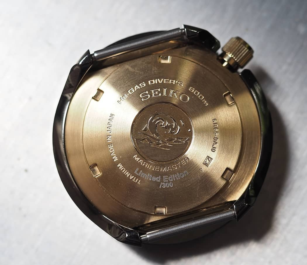 The case back of the Seiko Spring Drive Tuna
