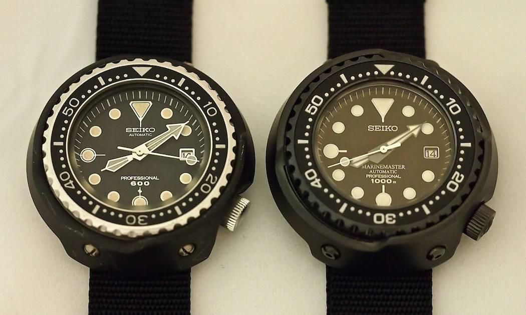 """The original 6159 """"Grandfather"""" Tuna on the left and the SBDX011 """"Emperor"""" Tuna"""