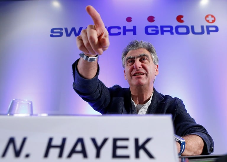 Nick Hayek Jr Swatch Group Chief Executive gestures during the Swiss watch maker annual news conference in Plan-Les-Ouates near Geneva March 20, 2014. REUTERS/Denis Balibouse (SWITZERLAND - Tags: BUSINESS) - RTR3HUWV