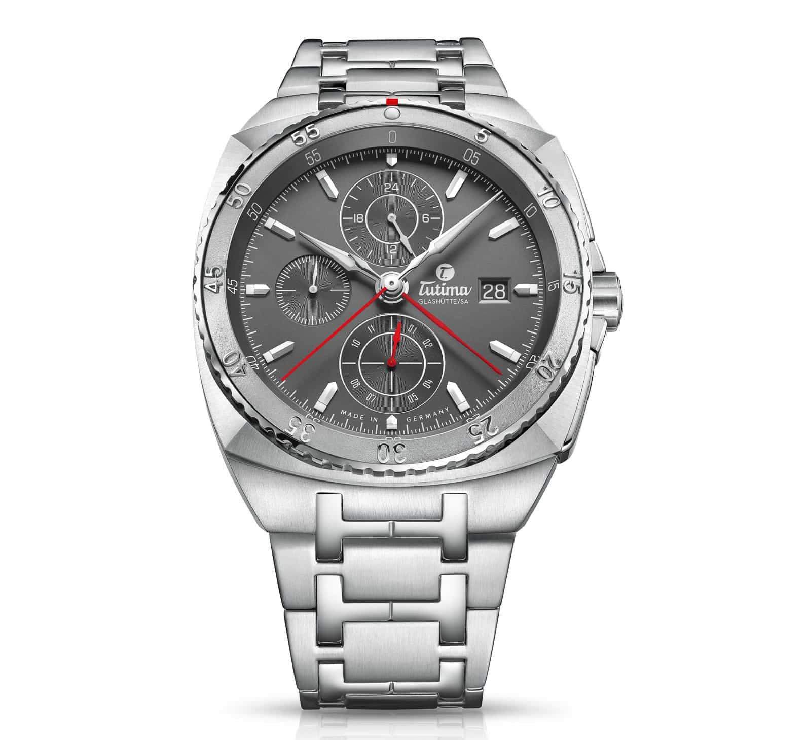 Tutima SAXON ONE chronograph with stainless steel bracelet, ref-no 6420-01.