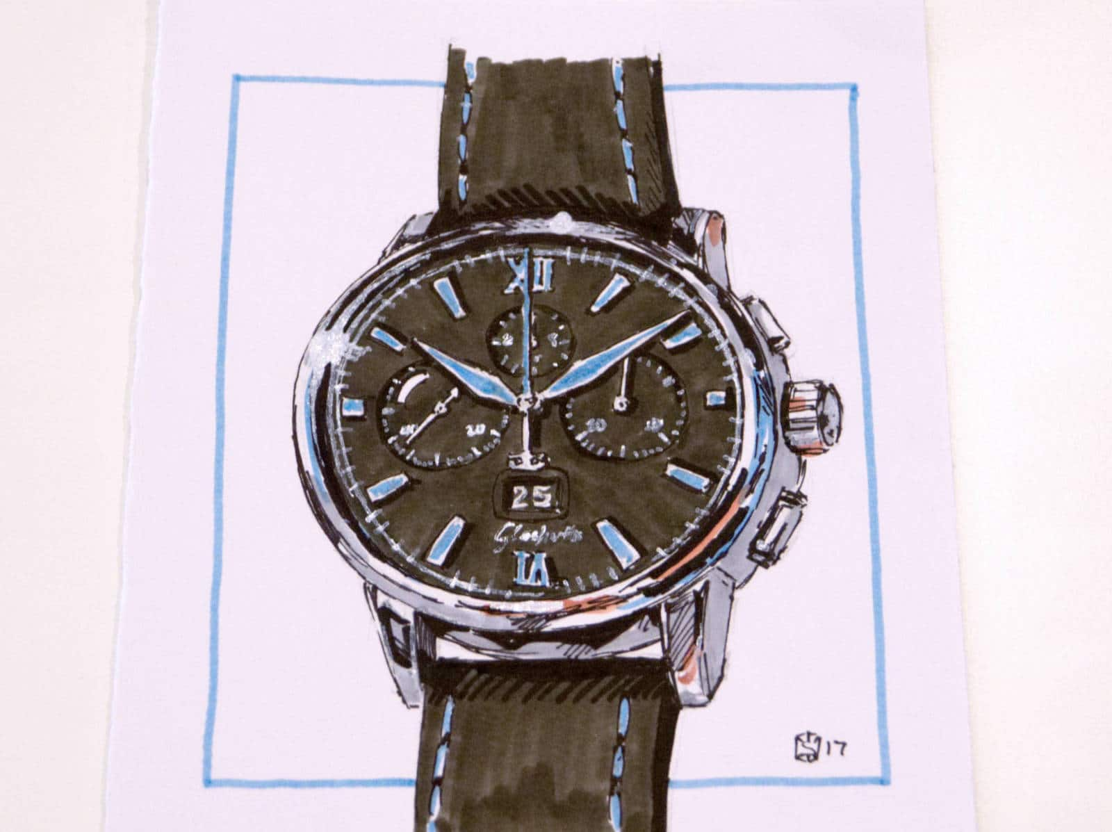 Drawing of a new Glashütte Original watch during Baselworld 2017