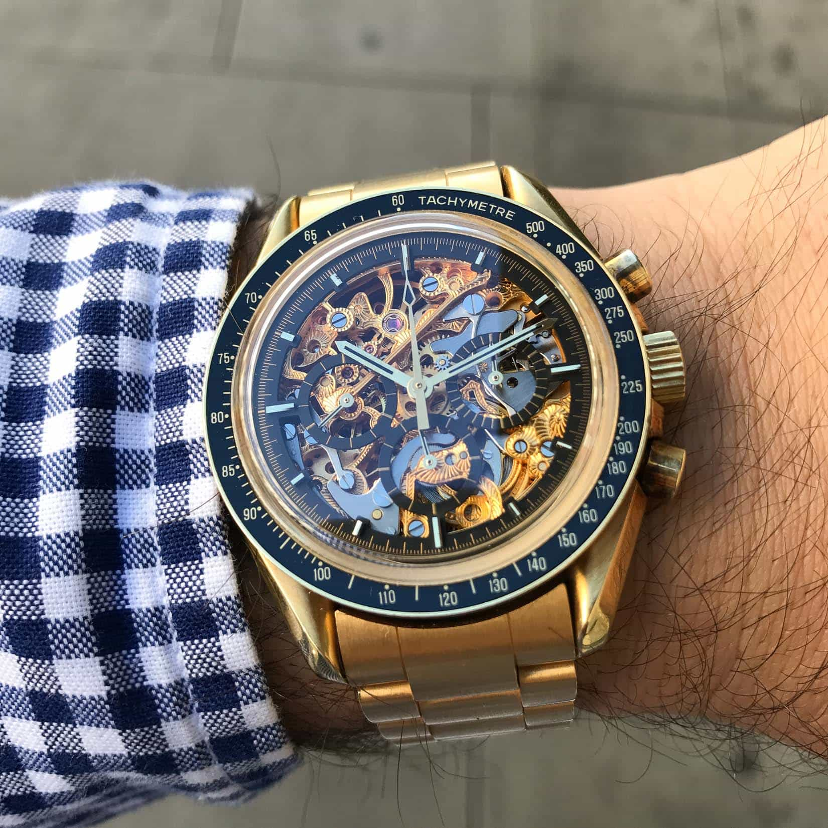 gold skeleton Speedmaster
