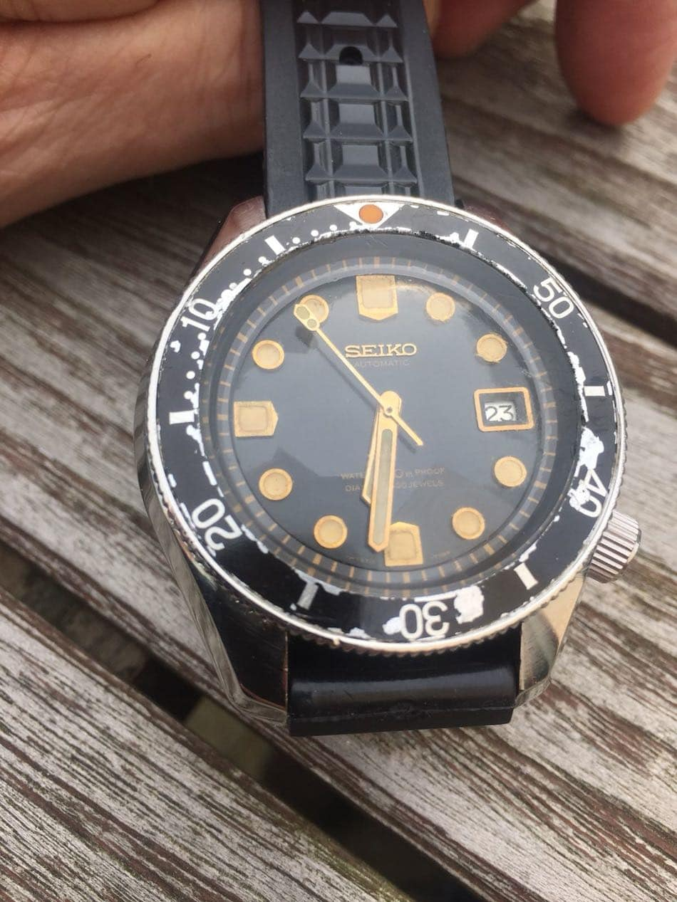 A well-worn Seiko 6215 (photo courtesy of collector Patrick Tacq)
