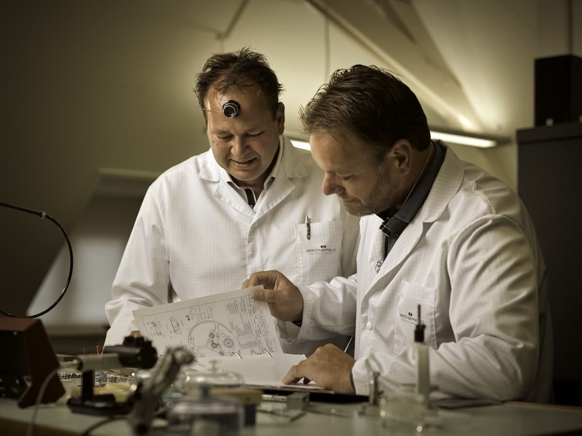 Watchmakers Tim and Bart Grönefeld in their atelier