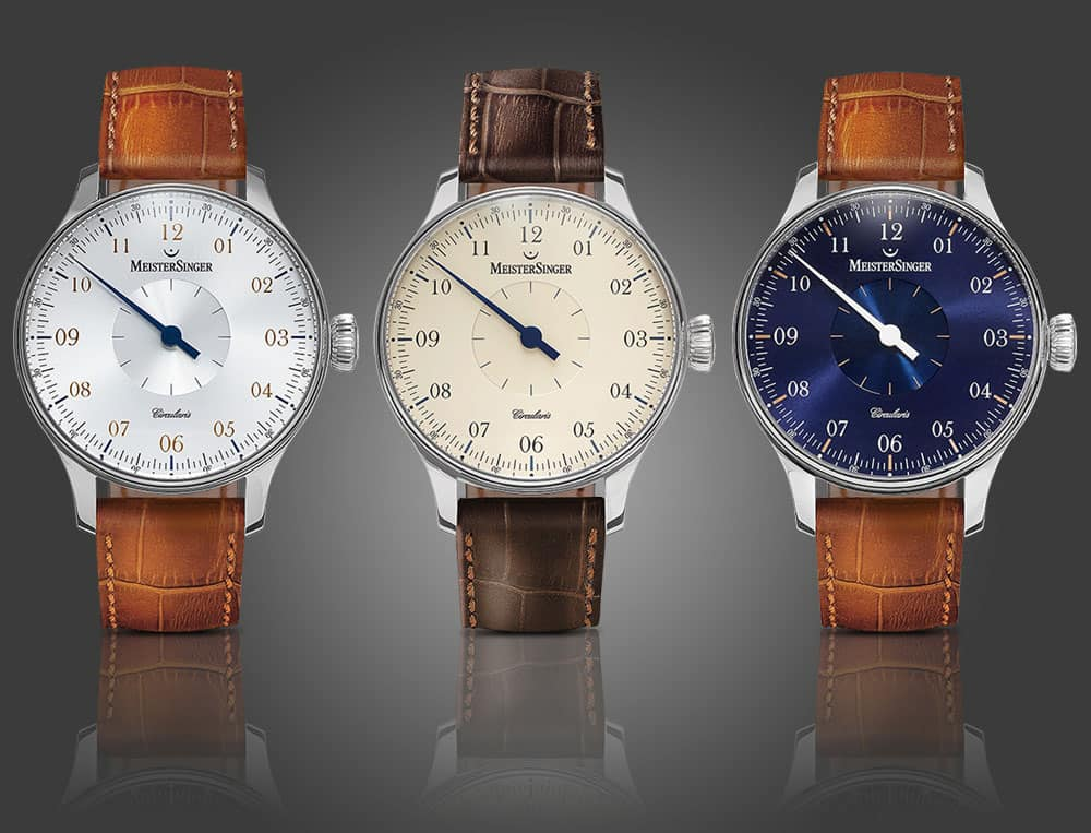 The Circularis in sunburst silver-white, ivory and sunburst sapphire blue