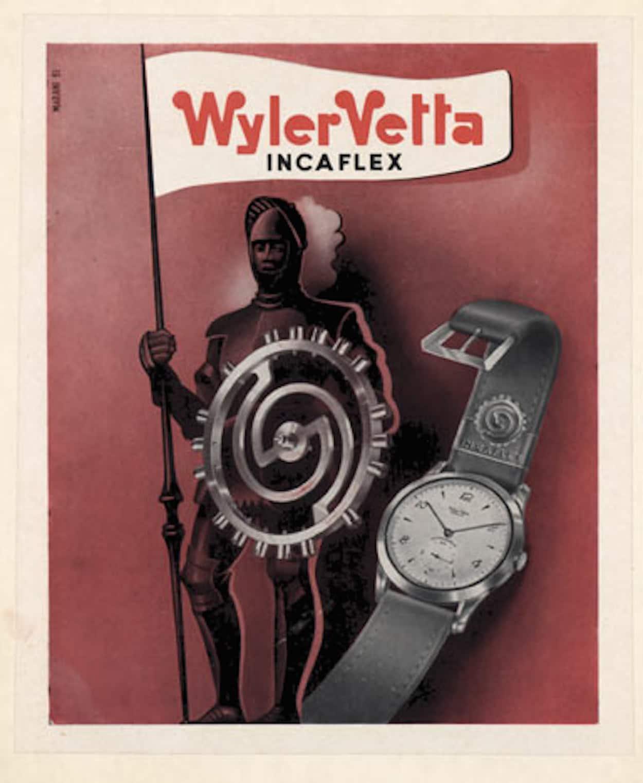 A Wyler Ad showing the Incaflex balance wheel