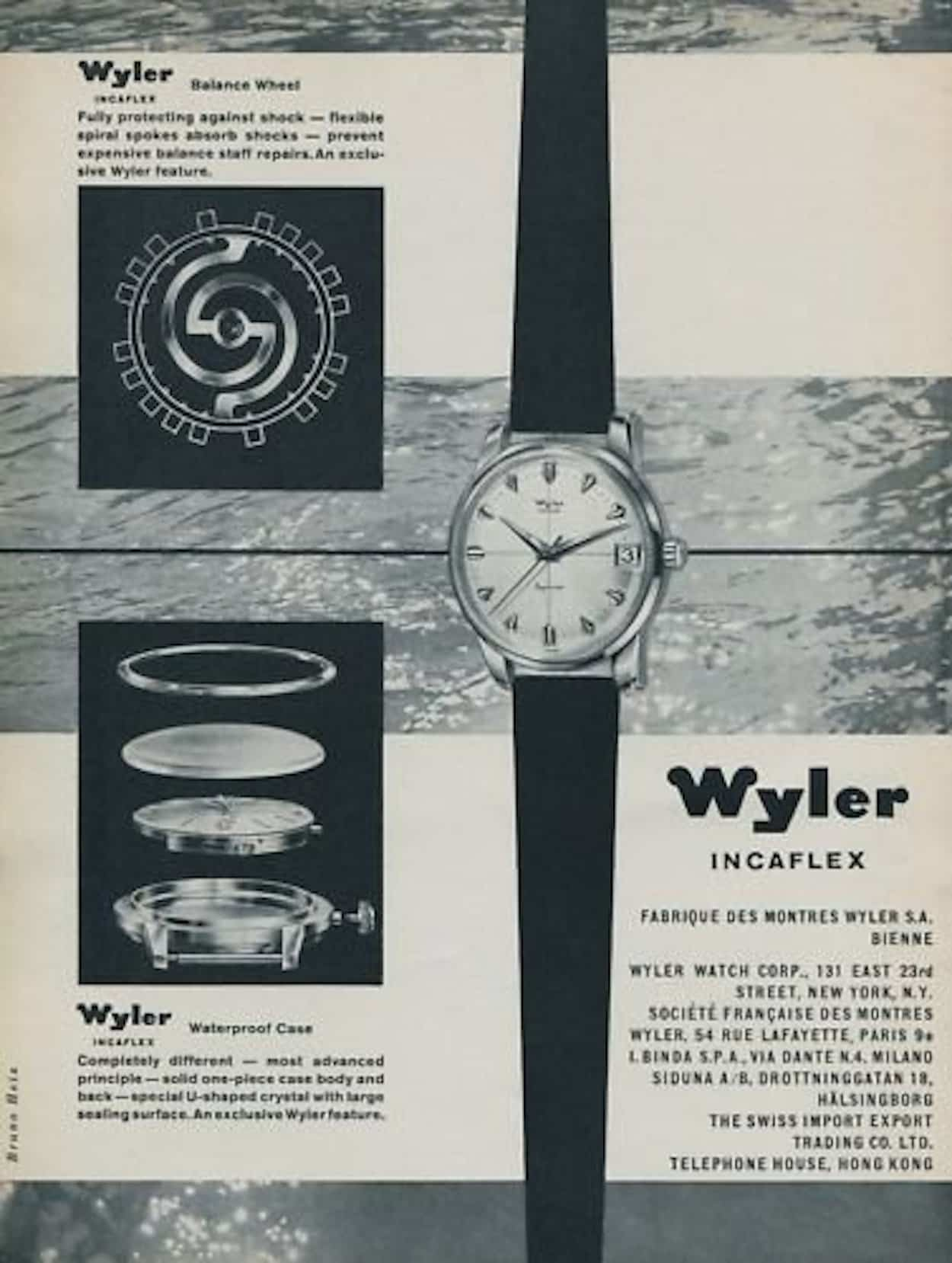 A Wyler Ad showing the Incaflex and the typical Wyler case design