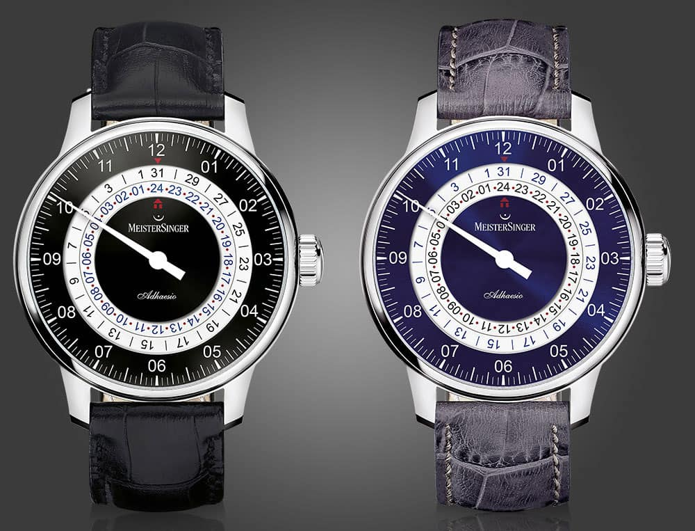 The complication is particularly conspicuous on the variants black and blue with white contrast rings.