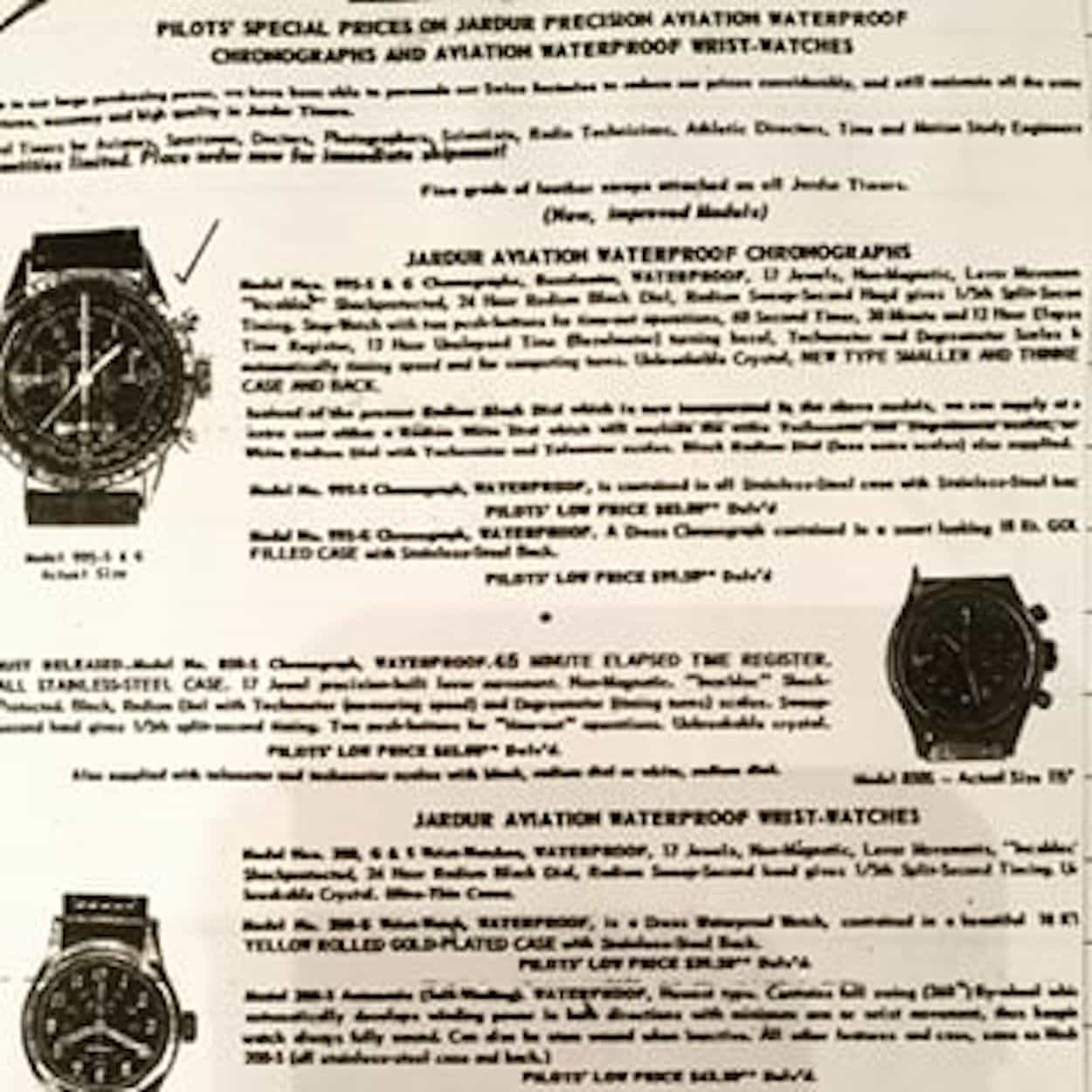Not easily read, but an original advertisement showing the Jardur Bezelmeter up top, our featured Jardur 850 (in steel) in the middle and a 3-hand watch at the bottom.  (Photo credit: Jardur.com)