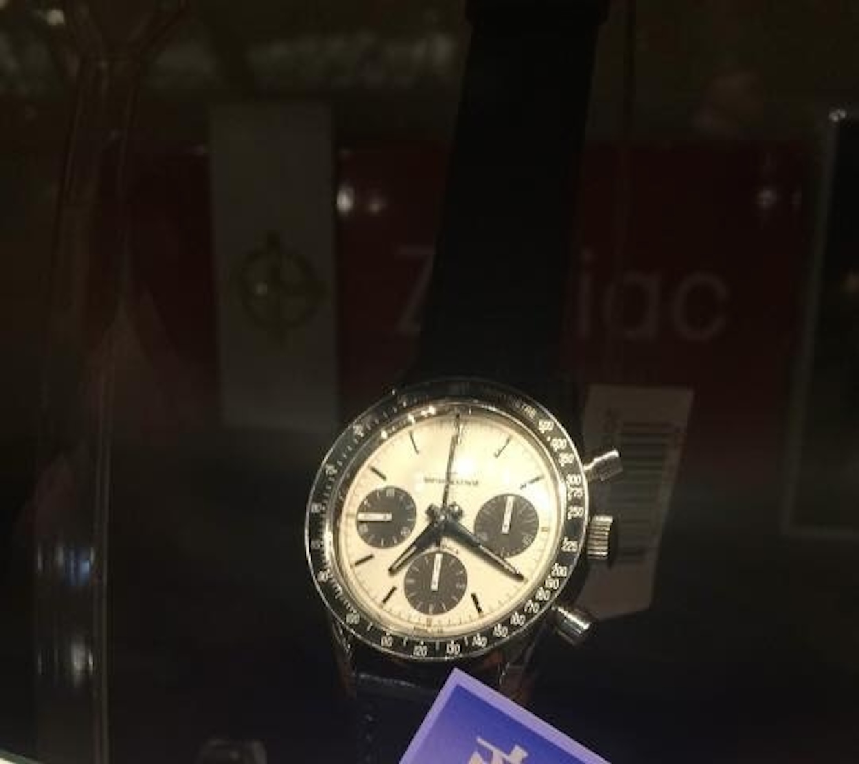 Forgive the grainy shot, but here was the Universal Geneve Compax Nina Rindt in the shop window earlier today...