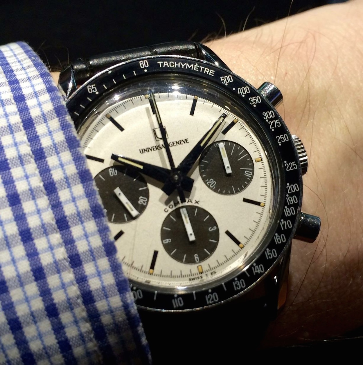 The find...the Universal Geneve Compax Nina Rindt on the wrist of the Intermediary