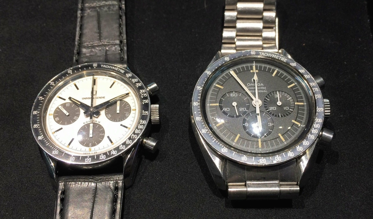 The Universal Geneve Compax Nina Rindt next to a transitional Omega Speedmaster. The size difference is dramatic. The Universal comes in at 36mm in diameter