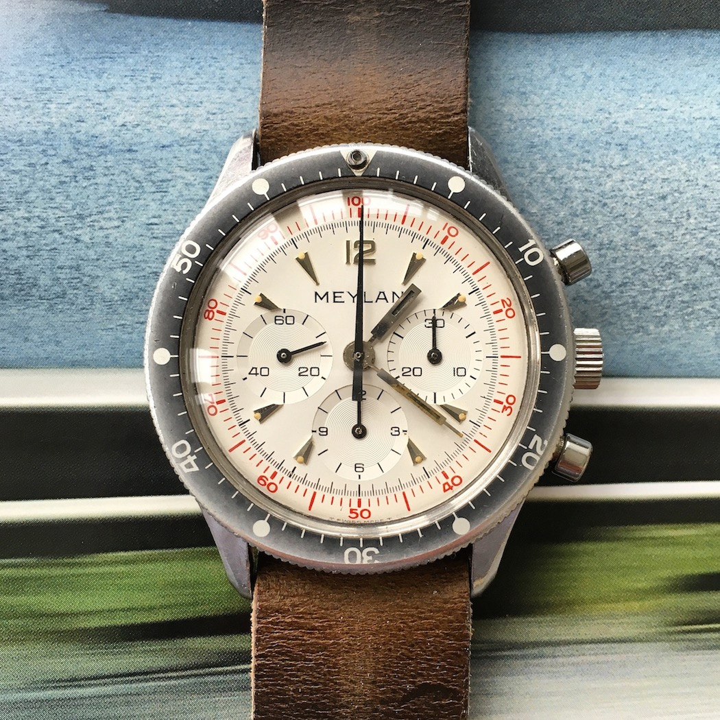 Head-on, the Meylan Chronograph is certainly an eye-catcher.  The bezel fades out nicely.