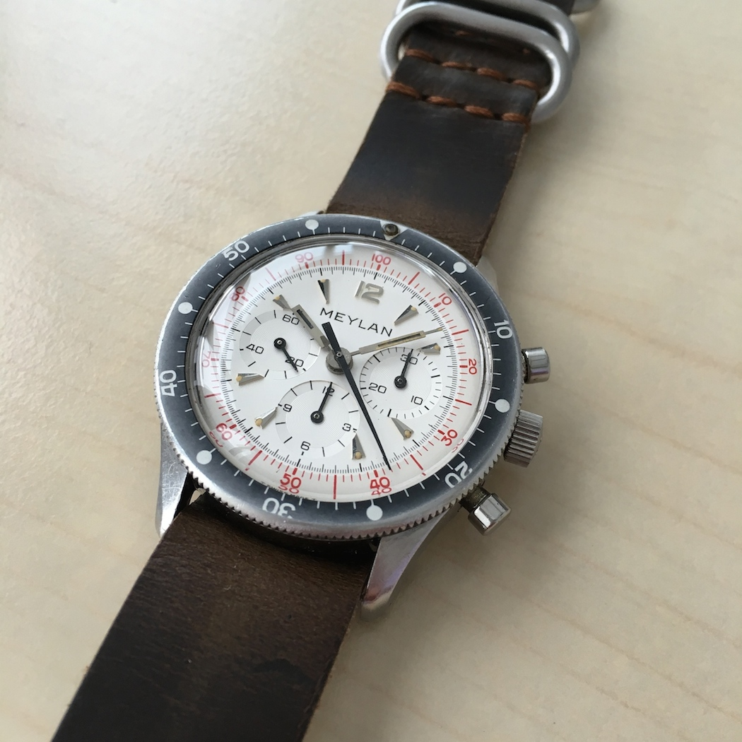 The applied features on the Meylan Chronograph dial speak to the high level of thought that must have gone into designing the watch.