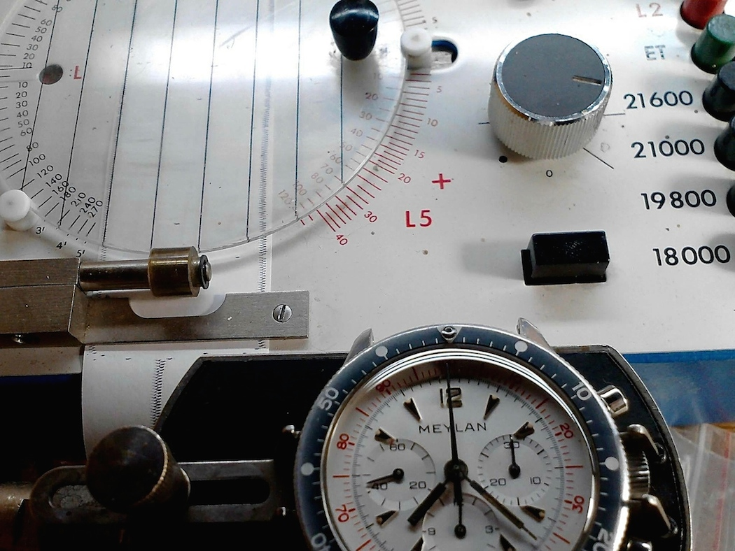 The Meylan Chronograph on the timer in Athens.