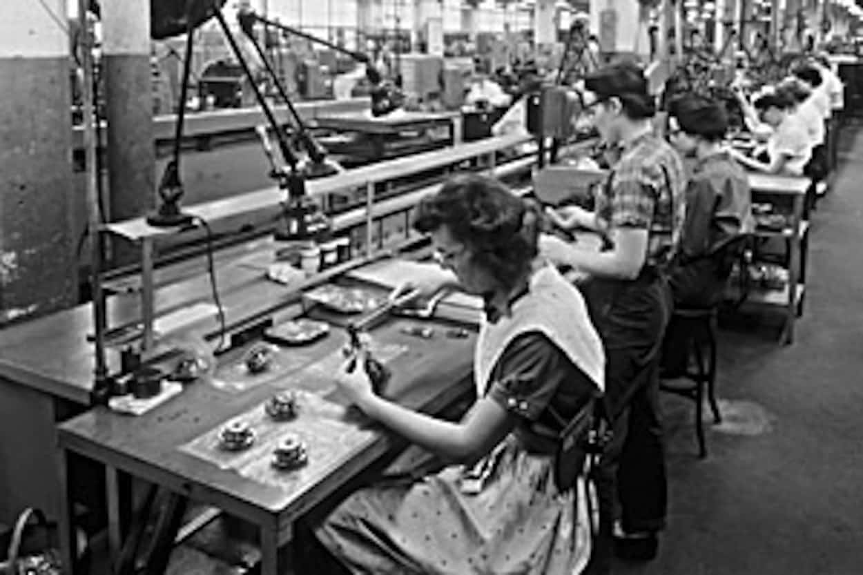 A look at workers in the late 1950's at the Oak Creek, Wisconsin GM/Delco Plant  - the plant went on to make navigation systems used on the Apollo missions. They were just soem fo the >400,000 people working on this historic mission. (photo credit: gmheritagecenter.com)