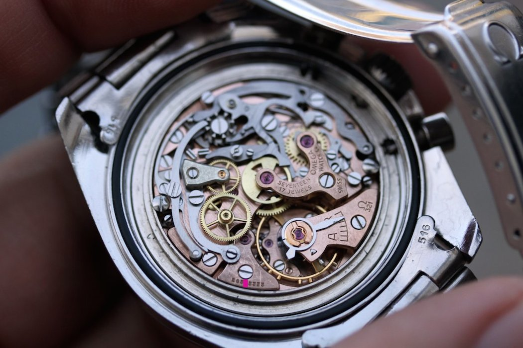 The Cal.321 within the Omega Speedmaster 145.012 (photo credit: Lunar Oyster)
