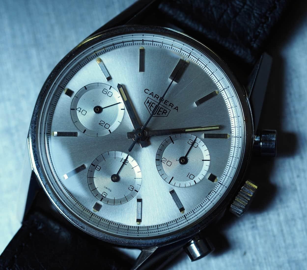 The Heuer Carrera 2447S sunburst dial