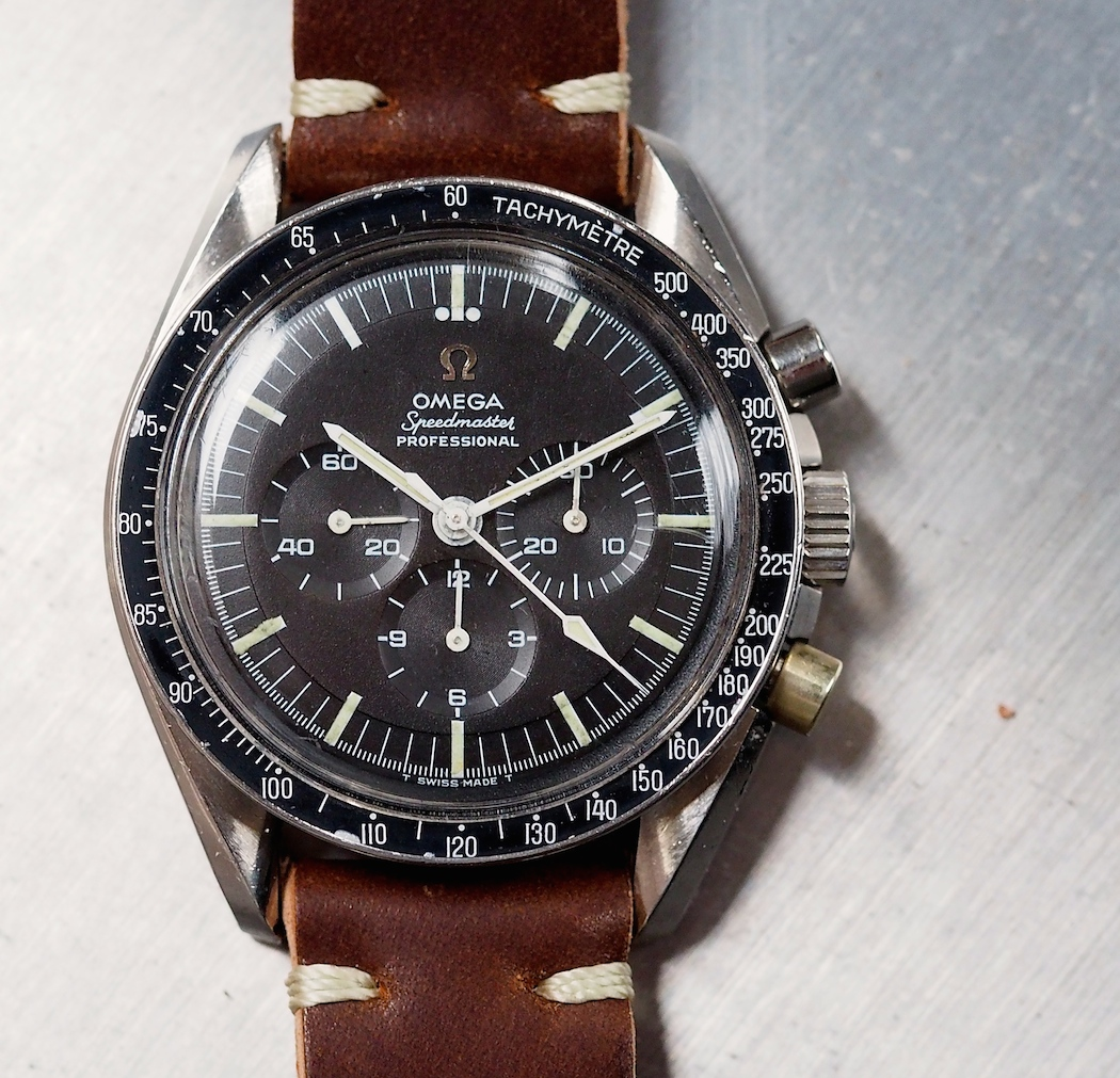 Omega Speedmaster 145.012, with its deeply dished sub registers and step dial, exhibits a lot of topography
