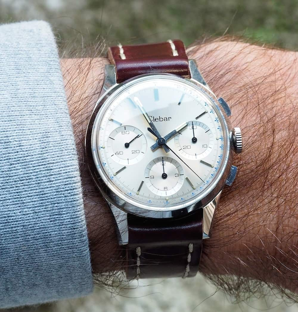 On the wrist, the long lugs of the Clebar chronograph give it a nice size that's apt for wearing on most occasions.