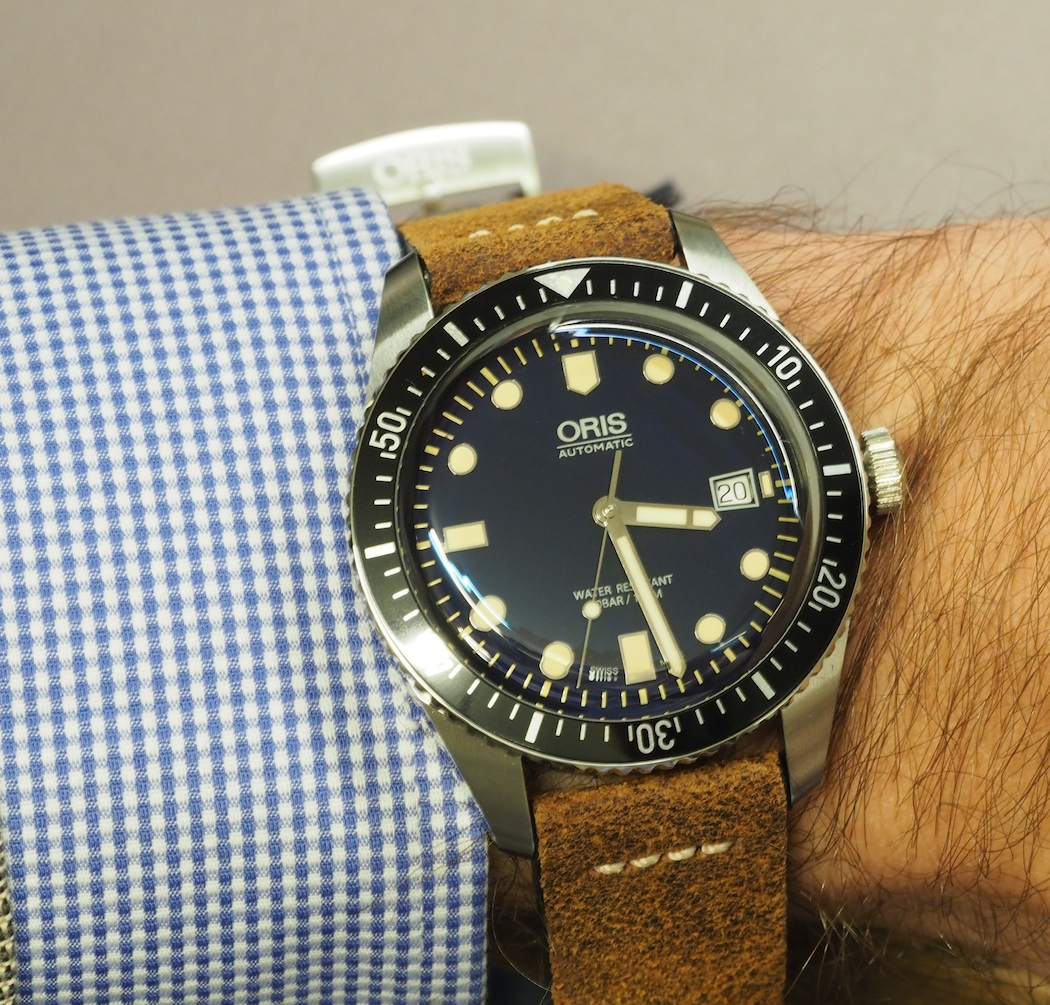 The Oris Divers Sixty-Five 42mm on the wrist