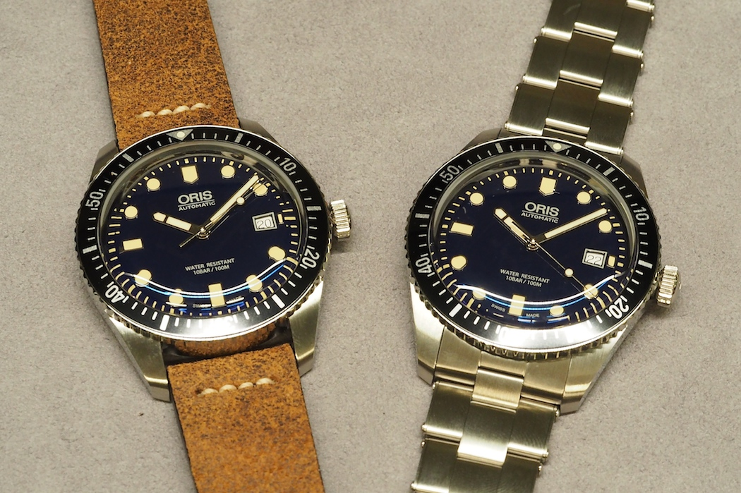 A view of both the leather strap and the riveted steel bracelet on the Oris Divers Sixty-Five - both are excellent