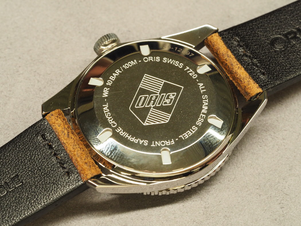 The Oris Divers Sixty-Five 42mm retains its vintage logo case back