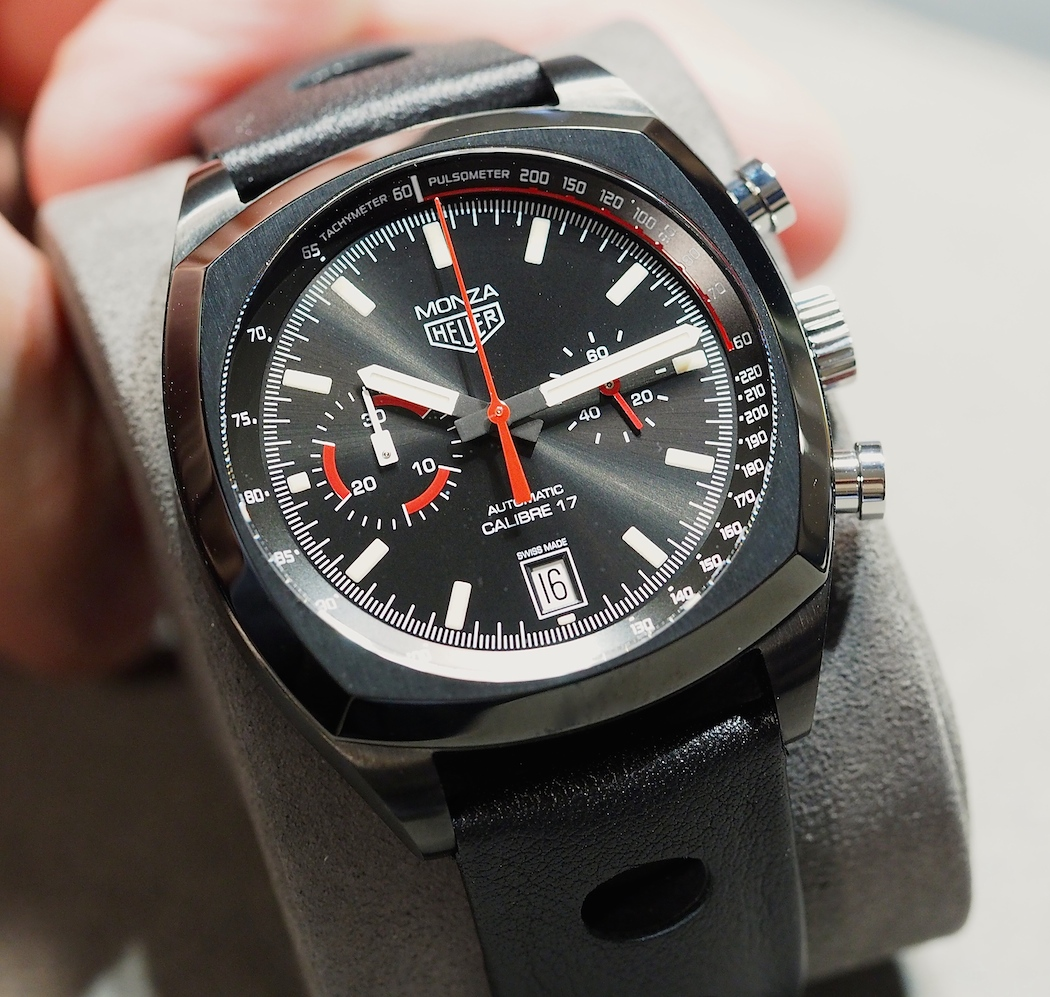 The TAG Heuer Monza contains a lovely dial with a sunburst finish that works well with the case