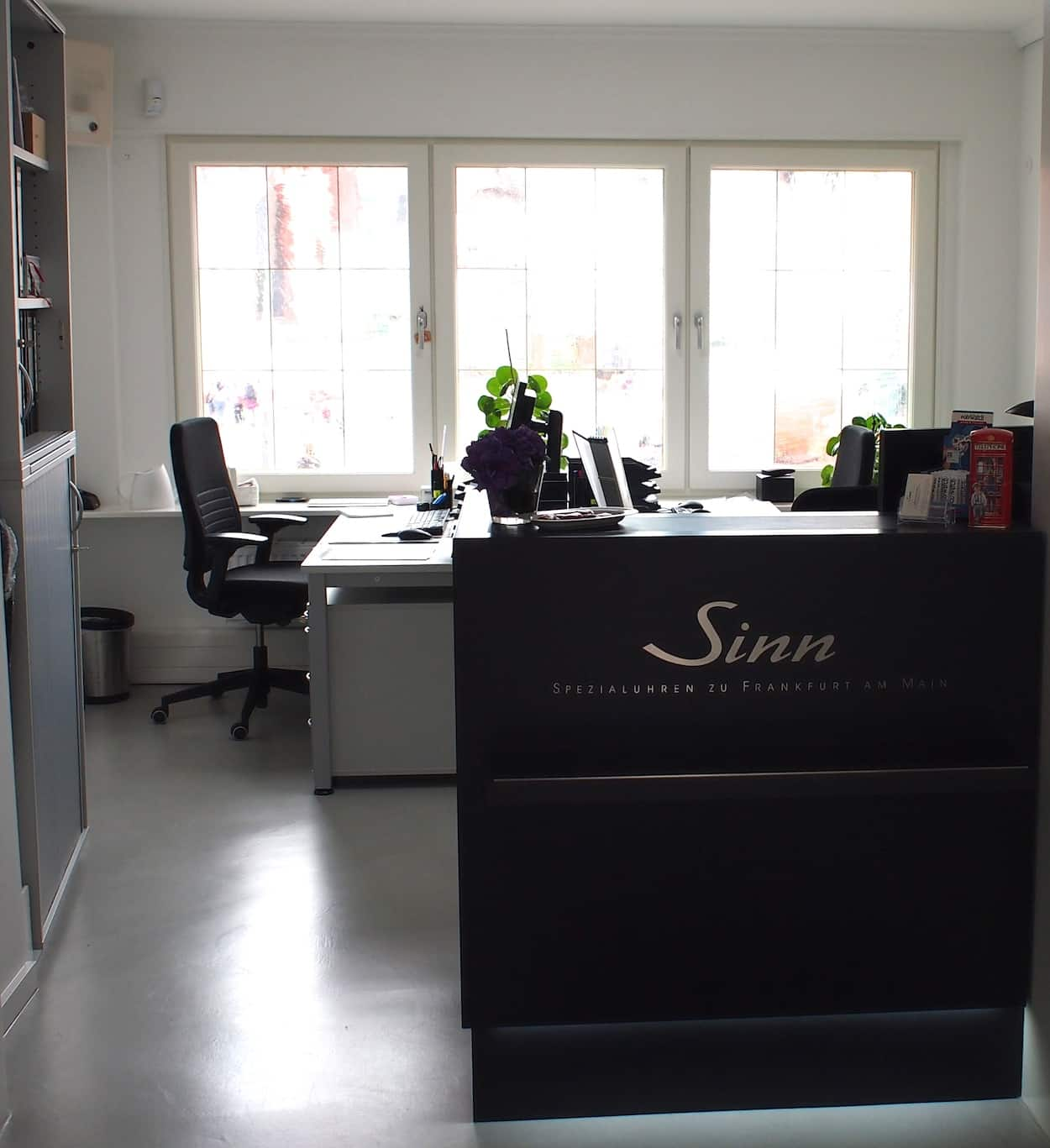 The upstairs service department at the Sinn boutique