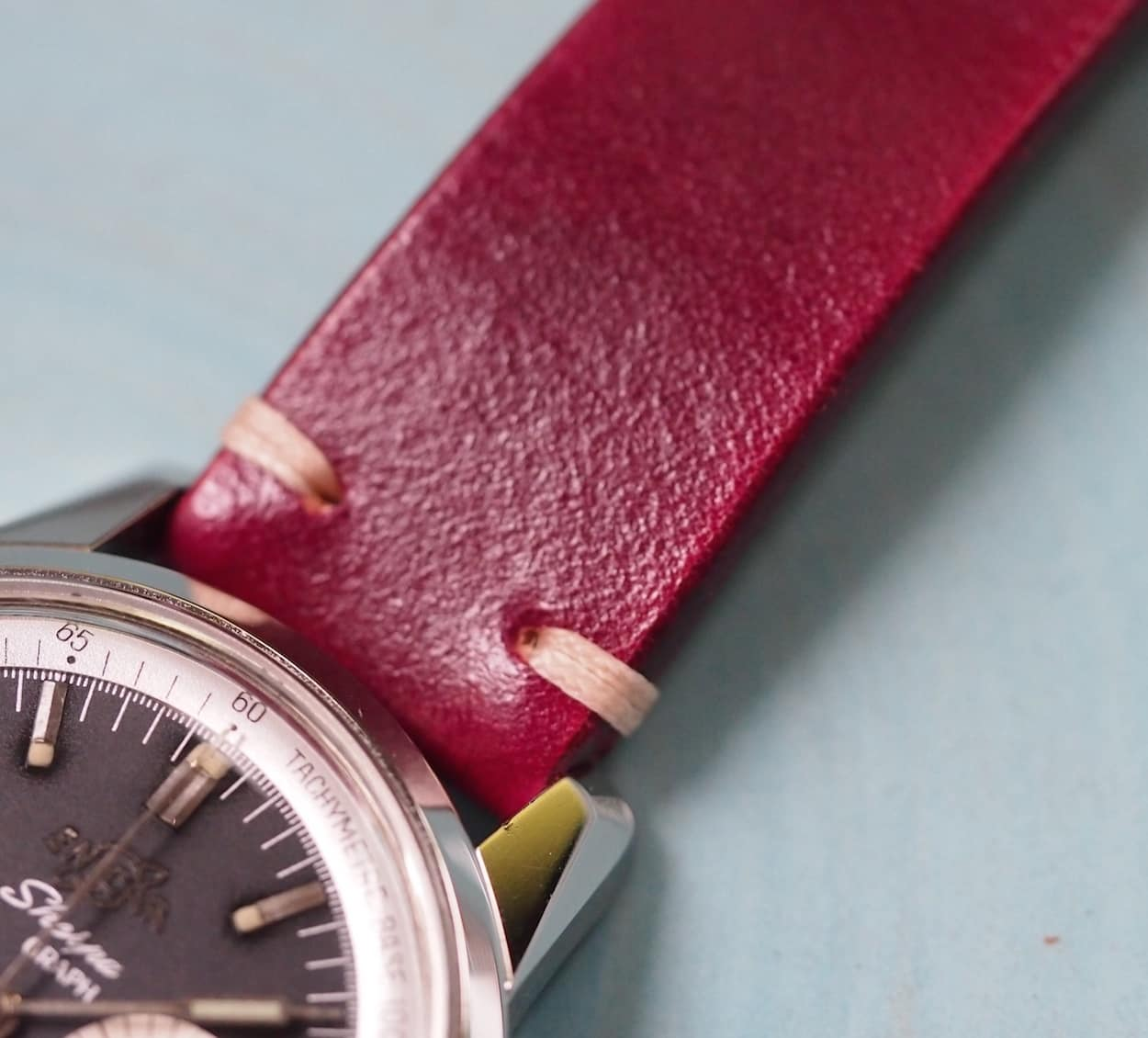 The BCatt watch strap in burgundy