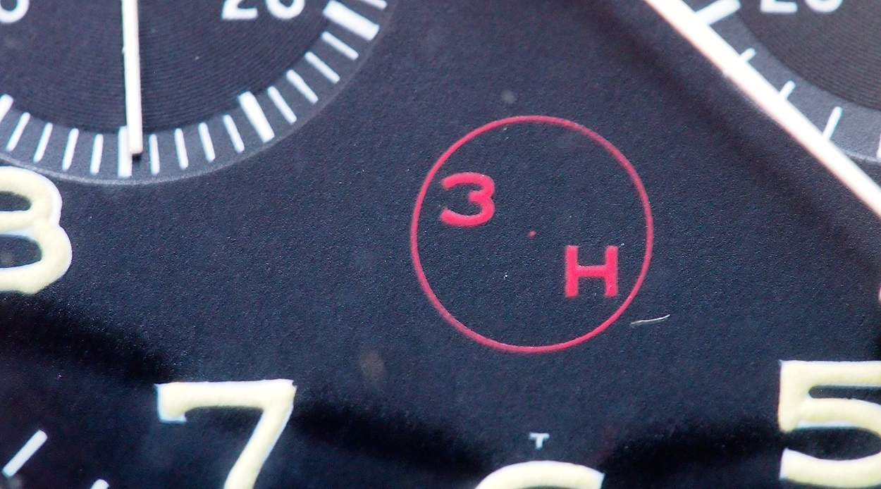 "The Heuer Bund 1550 SG ""3H"" with small dot in the middle"