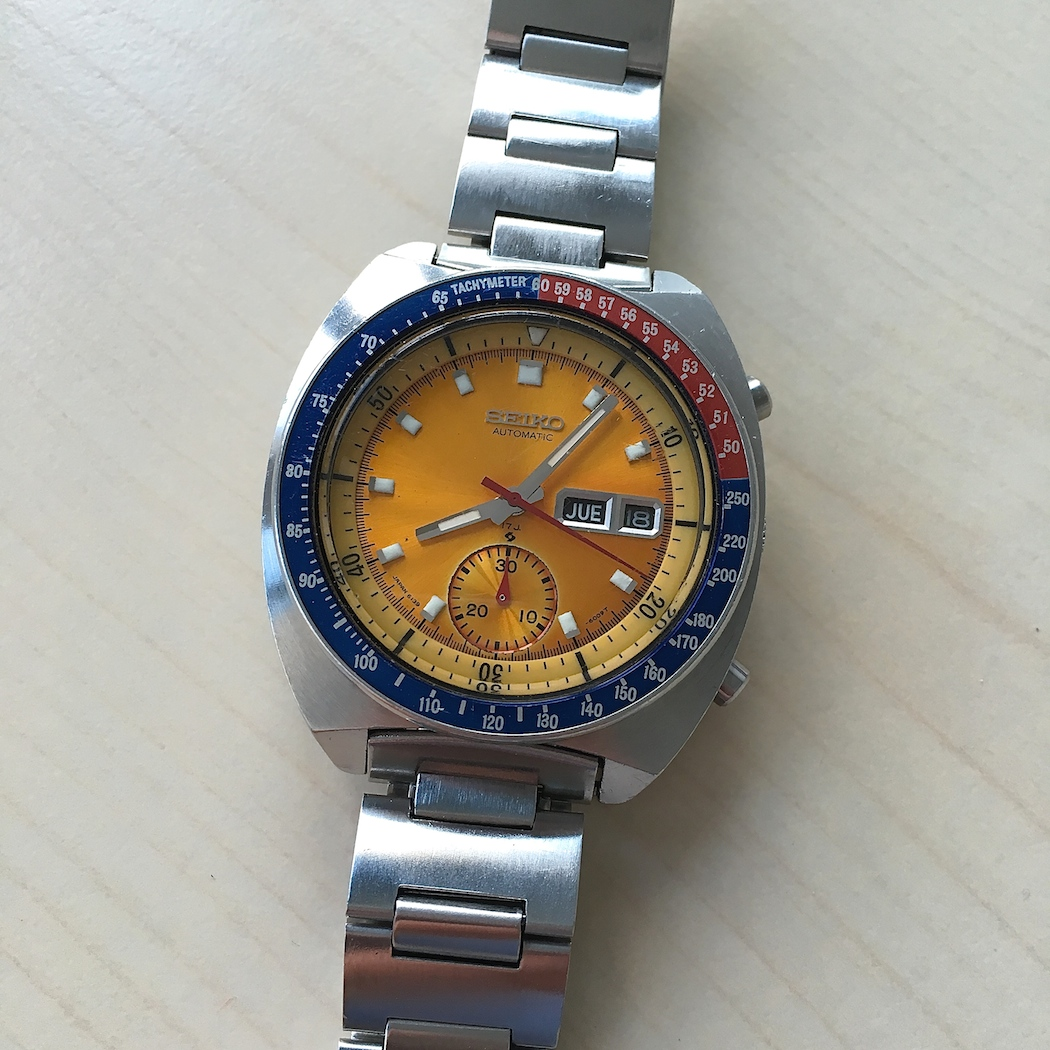 """The bargain of the bunch, the Seiko 6139-600x """"Pogue"""" chronograph.  In this case, a 6005 model from 1972."""