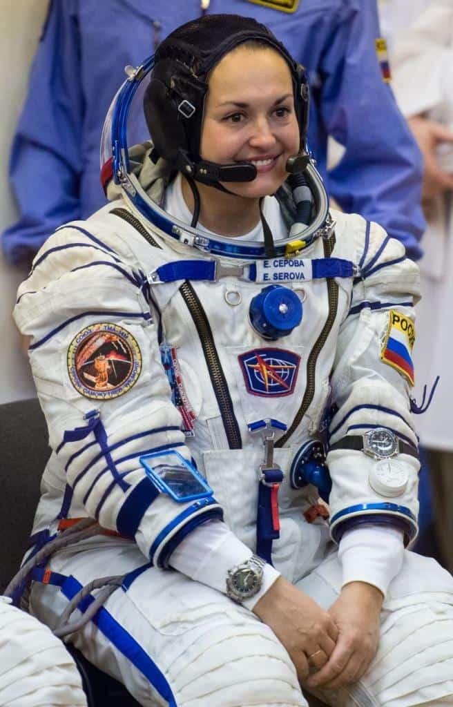 Elena Serova, wearing two Speedmaster watches