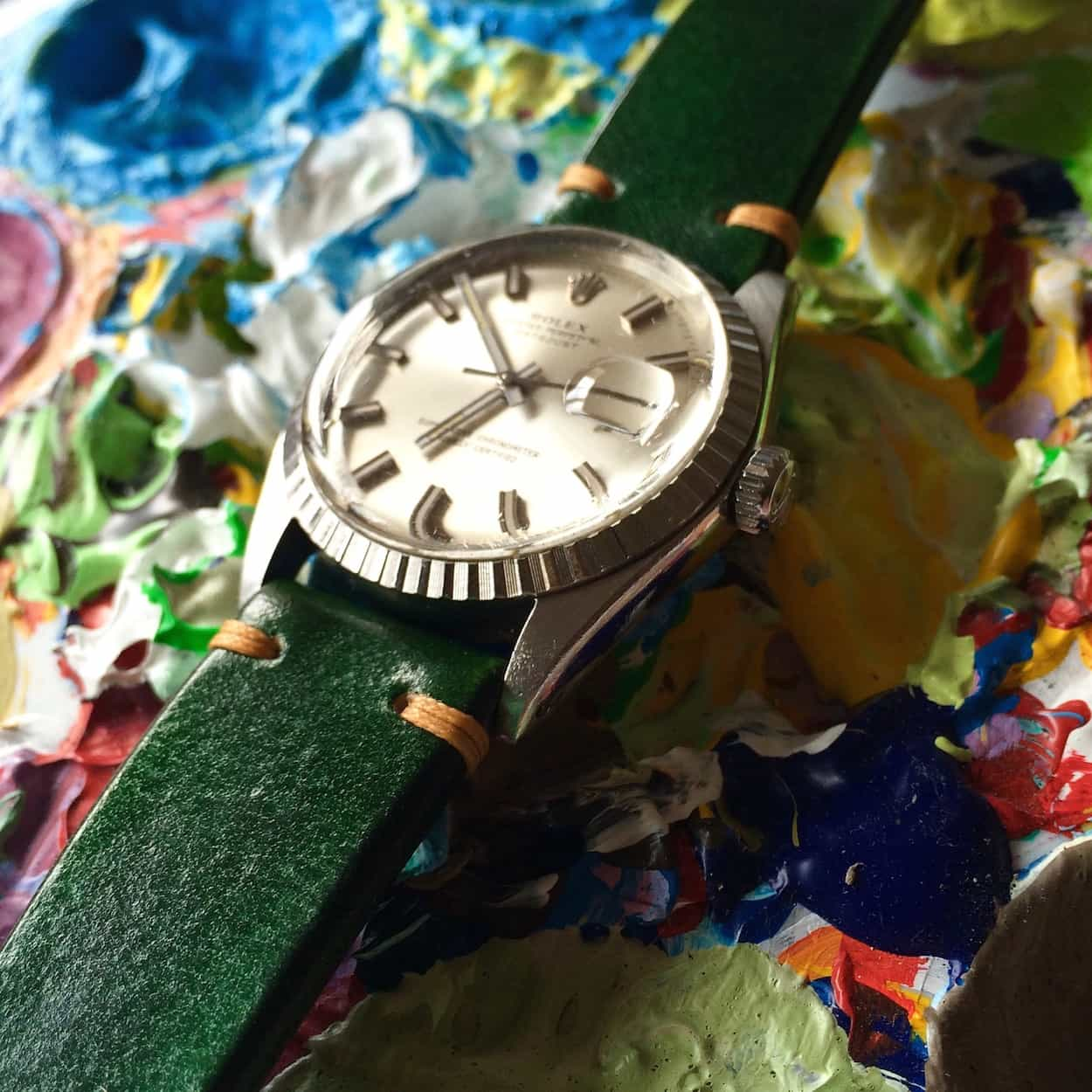 "A bold green BCatt watch strap on the owner's Rolex ""Wideboy"" Datejust"