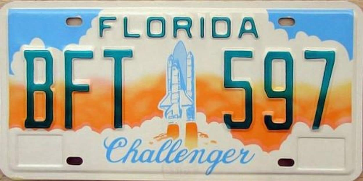 The original Challenger dedication license plate - they were everywhere after the 1986 disaster.